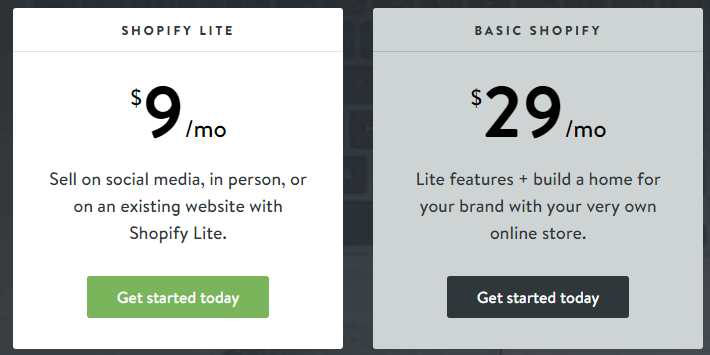 Shopify Pricing Plans - Shopify Lite, Shopify Basic, Shopify Advanced